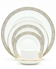 """Vera Wang Wedgwood """"Gilded Weave"""" 5-Piece Place Setting - Fine China - Dining & Entertaining - Macy's"""