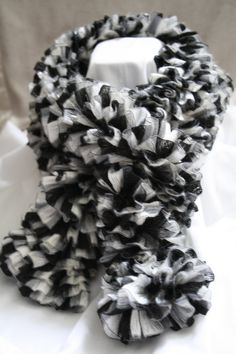 Ruffled Scarf Hand Knit Black Silver and White by SisterCollective, $20.00