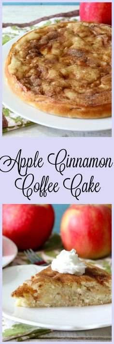 Apple Cinnamon Coffee Cake - A light, buttery, low-sugar cake full of juicy, plump apples and topped with a cinnamon sugar. You get a piece of apple in every bite.