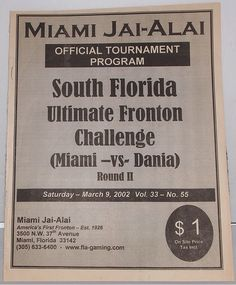 RARE Jai-Alai Program - Dania vs Miami - 2002 - Autographed by ZEN + J. ARRIAGA