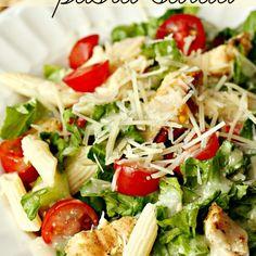 Grilled Chicken Caesar Pasta Salad Recipe: http://www.sixsistersstuff.com/2013/08/grilled-chicken-caesar-pasta-salad-recipe.html