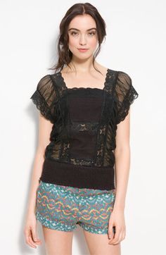 I am obsessed with square necklines, flutter sleeves and lace accents, so of course I had to buy this top with my remaining Nordstrom gift card.