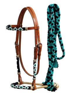 TEAL BEADED Bitless Hackamore Rawhide Bosal Cotton Rein Nice Set New Horse Tack   eBay