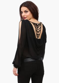 Sexy and fun bodysuit with cut out openings at each sleeve and in the back. Dress it up or down.