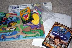Activity Bag #5    Melissa & Doug magnetic maze game  Crayons  Dot to Dot Game  Aluminum Foil  Shape & color flash cards  Ratatouille DVD