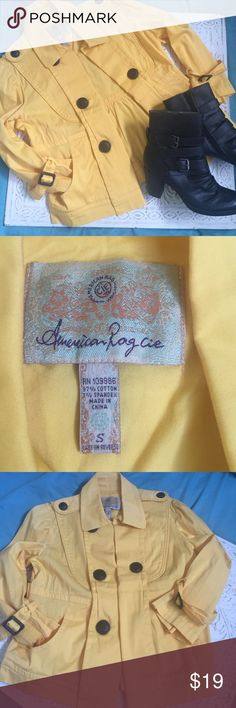 "American Rag jacket🌼🌼🌼 American Rag, Sz small, yellow jacket, so adorable, about 21in in length, buttons, buttons, buttons everywhere! Cuffs have little ""belts and buckles"", a must have for fall. American Rag Jackets & Coats Blazers"