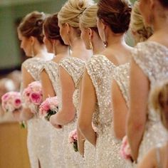 Perfectly glamorous bridesmaid dresses #weddingideas.... love the bling & they all have their hair up.... very pretty, classy