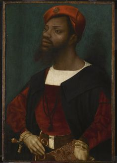 """Art history lesson of the week:  This is the earliest and only individual portrait of a black African to have survived from the late middle ages and the Renaissance (1500s). He has a moustache and a forked beard, and his black hair is largely covered by an orange bonnet with a turned-up brim on which there is a gold or silver-gilt pilgrim's badge of Our Lady of Halle, a town near Brussels that became a place of pilgrimage frequented by the Habsburg rulers of the Low Countries."""