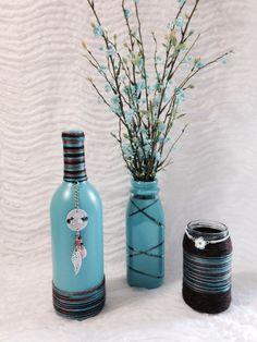 Painted Bottles Blue/Brown
