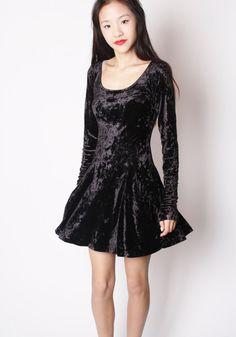 Designer Vintage 90s Black Crushed Velvet Betsey Johnson Skater Dress / Short Black  Dress / 90s Soft Grunge Skater / Betsey Johnson / 2100