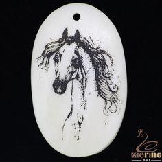 Cute Gift Natural Scrimshaw Bone Carved Painted Horse  Pendant Necklace ZL20492 #ZL #Pendant