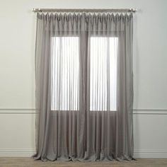 Grey 120 X 100 Inch Doublewide Voile Poly Sheer Curtain Single Panel