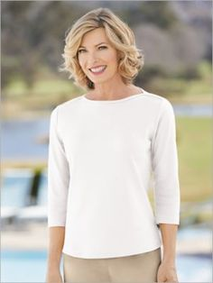 Shirts & Tops by Drapers & Damons. Comes in White, Size 3X. Designed in an exceptional knit with a stay-soft feel. We cut out the tags, so all you'll feel is smooth comfort. Includes side slits. We made it available in many colors to help you match the perfect hue to your outfit. Neckline: Jewel Sleeve Length: 3/4 Sleeve Length: Misses 25''; Petites 24''; Women's 27'' Content: 60% Cotton/40% Polyester Care: Machine wash. Origin: Imported Why We Love It A boatneck tee always looks chic an Fine Curly Hair, Short Hair, Clothes For Women Over 50, Cool Outfits, Fashion Outfits, Older Women Fashion, Special Occasion Outfits, Looks Chic, Comfortable Fashion