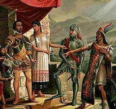 La Malinche and Cortes 1500s