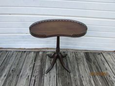 Antique By FERGUSON BROS. #3100 WOOD TABLE Kidney Form / Brass Trail / Claw  Foot