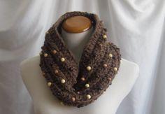 Cowl Beads Chunky Bulky Crochet Cowl: Brown от CrochetCluster
