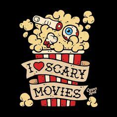 I Love Scary Horror Movies Art Design Shirt Decor Halloween Apparel Popcorn Casper Spell Halloween Horror, Halloween Art, Vintage Halloween, Halloween Witches, Happy Halloween, Halloween Decorations, Arte Horror, Horror Art, Horror Drawing