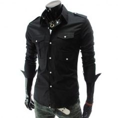 $11.82 Fashion Style Shirt Collar Multi-Pocket Design Long Sleeves Polyester Shirt For Men