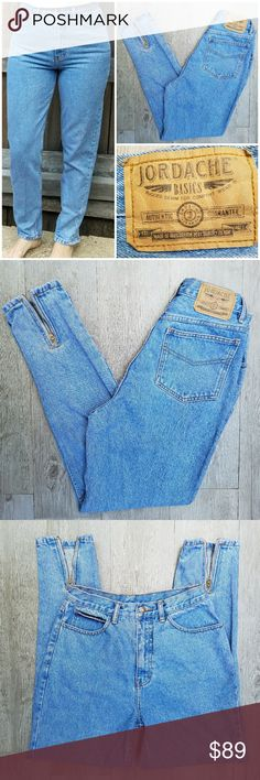 Vintage Jordache High Waisted Zipper Ankle Jeans Outerseam 38.5 in Inseam 27.5 in Waist 14 in Rise 12 in Excellent condition, size 9/10, but fits 4/6. I'm a size 6 for reference. Feel free to ask me any additional questions! Bundles of 3+ items are 15% off. No trades, or modeling. Happy Poshing! Vintage Jeans