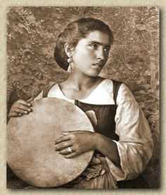 When women were the drummers. Italian woman with tamorra 1865 . Motif Music, Jimmy Nelson, Frame Drum, Drums Art, Ancient Goddesses, Indigenous Tribes, Old Photography, Italian Women, Old Mother