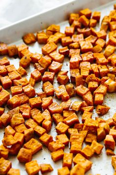 Roasted sweet potatoes are an easy sheet pan recipe. They're perfectly seasoned and will satisfy all your savory cravings! Oven Roasted Sweet Potatoes, Freeze Sweet Potatoes, Savory Sweet Potato Recipes, Sweet Potato Oven, Vegetable Dishes, Veggie Food, Vegetable Recipes, Food Dishes, Recipes