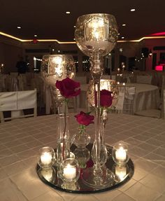 centerpiece - New Site Tall Wedding Centerpieces, Candle Centerpieces, Christmas Centerpieces, Valentine Decorations, Christmas Decorations, Gatsby Wedding, Red Wedding, Wedding Table, Quince Decorations