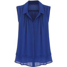 Womens Plain Turndown Collar Sleeveless Blouse Blue ($26) ❤ liked on Polyvore featuring tops, blouses, shirts, blue, blue collared shirt, shirt tops, sleeveless collared blouse, collar top and sleeve less shirts