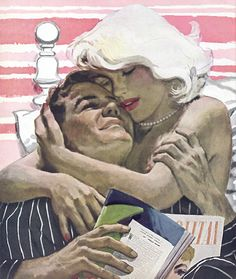 "Illustration by Alex Ross. Good Housekeeping magazine. For story titled ""A Place To Be Born."" March 1950. She's interrupted his reading in bed and from the smile on his face, that is a good thing. It..."
