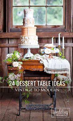 Wedding Cakes & Dessert Table Ideas ❤ Vintage to modern. See more: http://www.weddingforward.com/wedding-dessert-table-ideas-vintage-modern/ #weddingcakes (Photo credit: K. Lindmeier Photography)