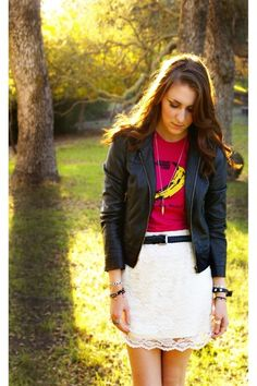 perfection is a black leather jacket paired with a velvet underground tee and a white lace skirt.