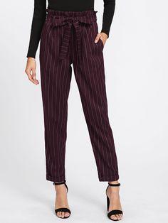 Shop Tie Waist Cuffed Pinstripe Peg Pants online. SheIn offers Tie Waist  Cuffed Pinstripe Peg 647c0cf9f0