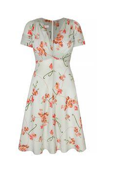 Silk Tea Dress Illustrative Print (click to view larger image)