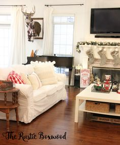 Christmas home tour with home decorators collection | The Rustic Boxwood | diy, white, christmas decor, home tour, christmas decorating ideas, farmhouse style, taxidermy, christmas mantel, white sofa, white on white