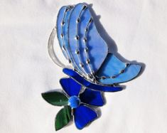 Stained Glass Butterfly Suncatcher by GlassofDistinction on Etsy Stained Glass Patterns, Stained Glass Art, Fused Glass, Clear Glass, Glass Butterfly, Blue Butterfly, Hand Wax, Window Hanging, Beautiful Butterflies