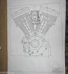 HARLEY DAVIDSON 80ci EVOLUTION Engine BLUEPRINT HD poster print motorcycle 1340