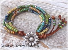 Seed Bead Leather Wrap Bracelet, Multi Color Seed Bead Wrap Bracelet, Seed Bead Bracelet. by AZJEWELRYBYELIZABETH on Etsy https://www.etsy.com/ca/listing/480675801/seed-bead-leather-wrap-bracelet-multi