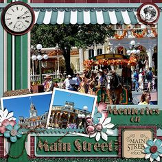 Disney scrapbook. Love the awning, maybe make multiles over photos for a few main street pages