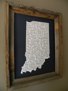 Indiana In A Nutshell Word Art Map Print. Get one for Tennessee too!