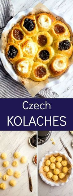 Authentic Czech Kolaches Recipe: with 3 fillings, cream cheese, apricot and prune. Authentic Czech Kolaches Recipe: with 3 fillings, cream cheese, apricot and prune. Czech Desserts, Köstliche Desserts, Delicious Desserts, Dessert Recipes, Yummy Food, Slovak Recipes, Czech Recipes, Dessert For Two, Sweets