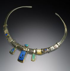 """Contemporary Jewelry - """"Boulder opal element collar"""" (Original Art from Patricia McCleery)"""