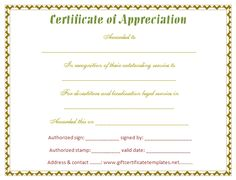 Free Appreciation Certificate Templates 30 Free Certificate Of Appreciation  Templates And Letters, 9 Certificate Of Appreciation Templates Free Samples  ...  Free Appreciation Certificate Templates