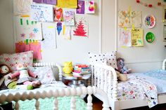 Yay! Land of Nod toddler beds in LoveTaza's nursery. I love seeing LON in real homes.
