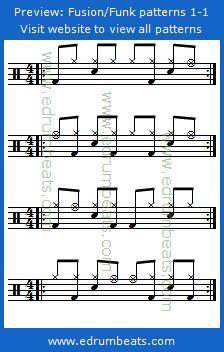 Drum Lesson 1-1 contains 24 beginner funk/fusion drum beats. This lesson has 24 free midi drum loops mp3 audio samples.