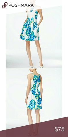 Calvin Klein Floral Print Scuba Flare Dress NWT You'll look gorgeous in this printed fit-and-flare dress from Calvin Klein. It's the perfect pick for office-ready appeal.  Halter neckline Hidden back zipper with hook-and-eye closure Sleeveless Allover print Fit-and-flare silhouette Lined Polyester/spandex; lining: polyester Dry clean  ???PRICE IS FIRM???  ???NO TRADES??? Calvin Klein  Dresses