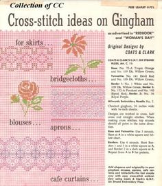 Vintage Cross Stitch on Gingham Pattern. Downloadable PDF copy of original leaflet from about the '50s. I remember seeing a lot of this crosstitch on gingham.