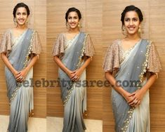 Niharika Konidela attended the Pre-release event of Happy Wedding wearing a grey embroidered saree paired with embellished cape sleeves blouse. She finished off her look with a pair of statement earrings and an updo. Saree Jacket Designs, Netted Blouse Designs, Saree Blouse Neck Designs, Fancy Blouse Designs, Simple Pakistani Dresses, Stylish Blouse Design, Indian Wedding Outfits, Indian Outfits, Blouse Models