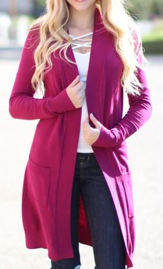 Ultra soft and great quality this long pocket cardigan will be a go-to item all year long! It makes any outfit pop with your favorite colors. Sizing: Small (0-4) Medium (6-8) Large (10-12) X-Large (14-16)