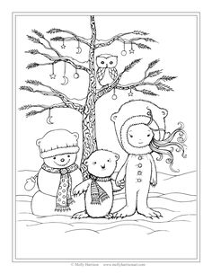 Free Winter Scene Coloring Page Snowman, Polar Bear, Little Girl by Molly Harrison Fantasy Art