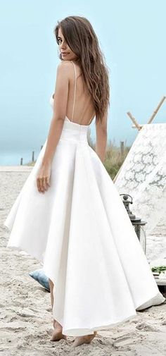 High Low Spaghetti Straps Backless Satin Beach Wedding Dress with Pockets, - Wedding Dresses Informal Wedding Dresses, Informal Weddings, Elegant Prom Dresses, A Line Prom Dresses, Long Wedding Dresses, Princess Wedding Dresses, Cheap Wedding Dress, Beach Dresses, Bridal Dresses