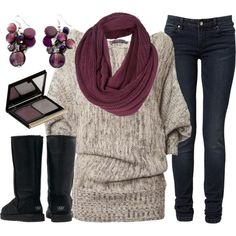 """Perfectly Plum"" by qtpiekelso on Polyvore    LOL, I HAVE THIS SWEATER ON TODAY!!!"